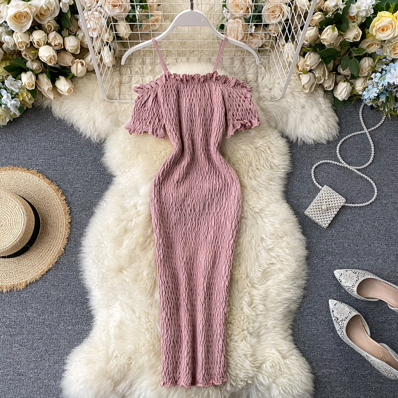 Vintage 2020 Slim Draped Bodycon Knitted short Dress spaghetti strap off shoulder dress Summer Party Women sexy club dresses