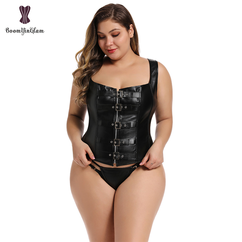 Wide Straps Black Gothic Clothing Body Shape Vest Buckle Zip Up Boned Corset Sexy Korset Women Plus Size 905