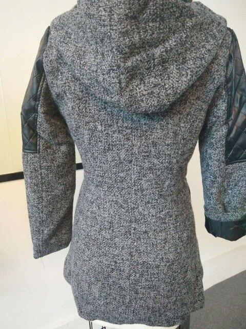 Women Winter Hooded Coat Autumn Zipper Slim Outerwear Spring Fashion Patchwork Black Female Warm Windproof Overcoats 5