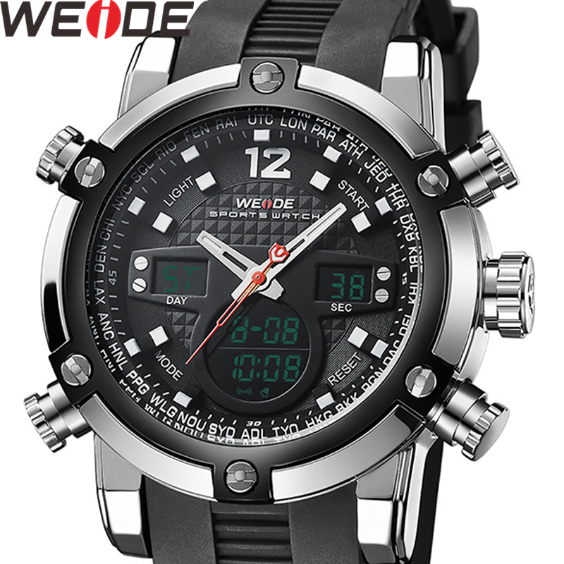 WEIDE Men Watch Relogio Masculino Men Watch Date Alarm Back Light Time Zone Quartz Relojes Watch Men Digital Wrist LCD Men Watch