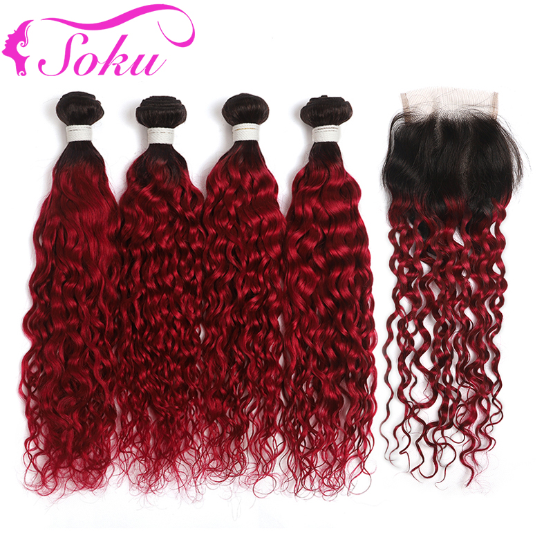 Ombre Red Water Wave Bundles With Closure 4x4 SOKU 4PCS Human Hair Weave Bundles With Closure Non-Remy Brazilian Hair Bundles
