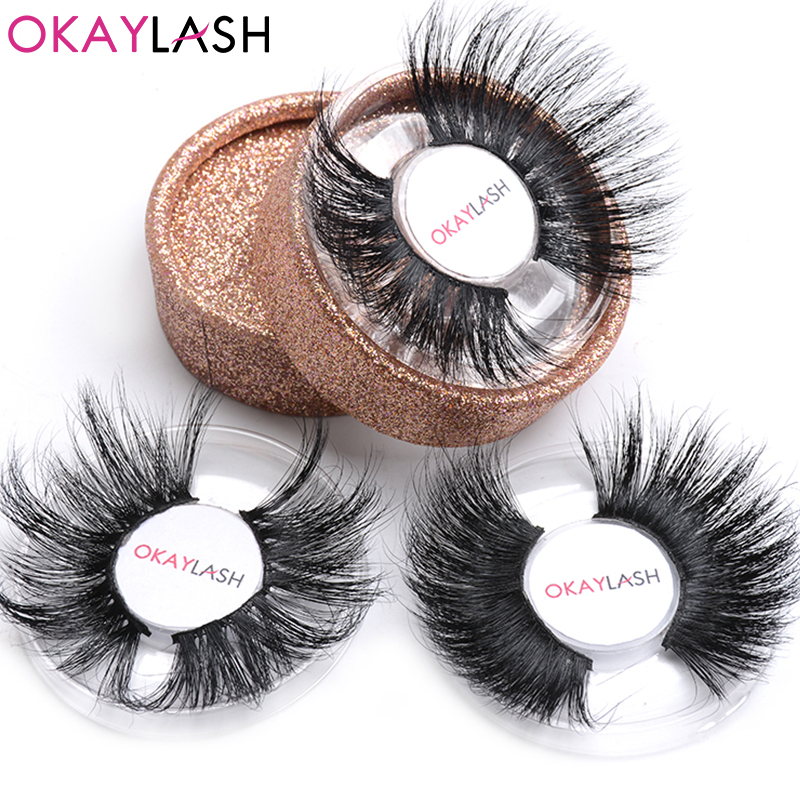 OKAYLASH 25mm 30mm Dramatic High Volume Real Mink Long Siberian Eyelashes Modern Mega Wispy 3D Mink Eyelashes