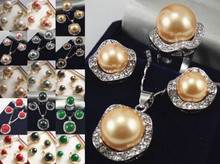 +++907 7 color-pink/gray/black/red/yellow/green shell pearl/stone earring pendant ring(China)