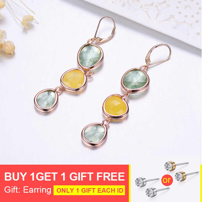 New Design Dangle Long Earrings Fashion Jewelry Charms Colorful Crystal Stone Copper Drop Pink Earrings For Women 2019 Gifts