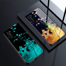 Caixa luminosa de vidro temperado colorido para samsung galaxy s20 nota 10 mais 9 flash volta coques para galaxy a71 a51 s8 s9 s10 plus(China)