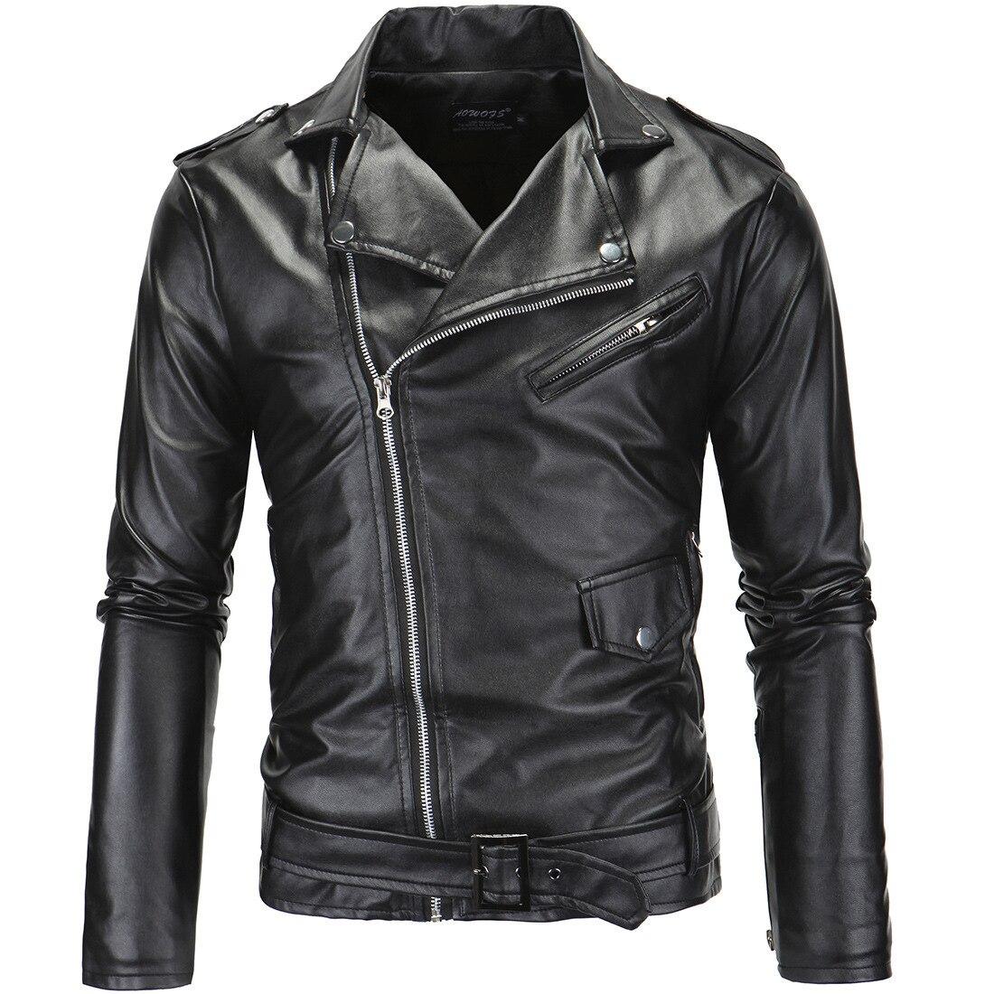 Foreign Trade Men'S Wear Men Locomotive Slim Fit Casual Fold-down Collar Oblique Zipper Leather Coat Leather Jacket 1217/Y82P63