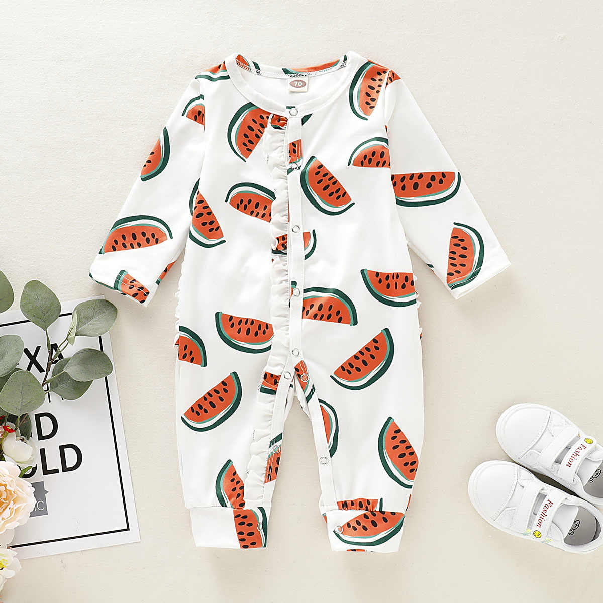 יילוד פעוט תינוק ילד ילדה בגדים חמוד אבטיח הדפסת romper ארוך שרוול עטוף רגל סרבל חדש נולד