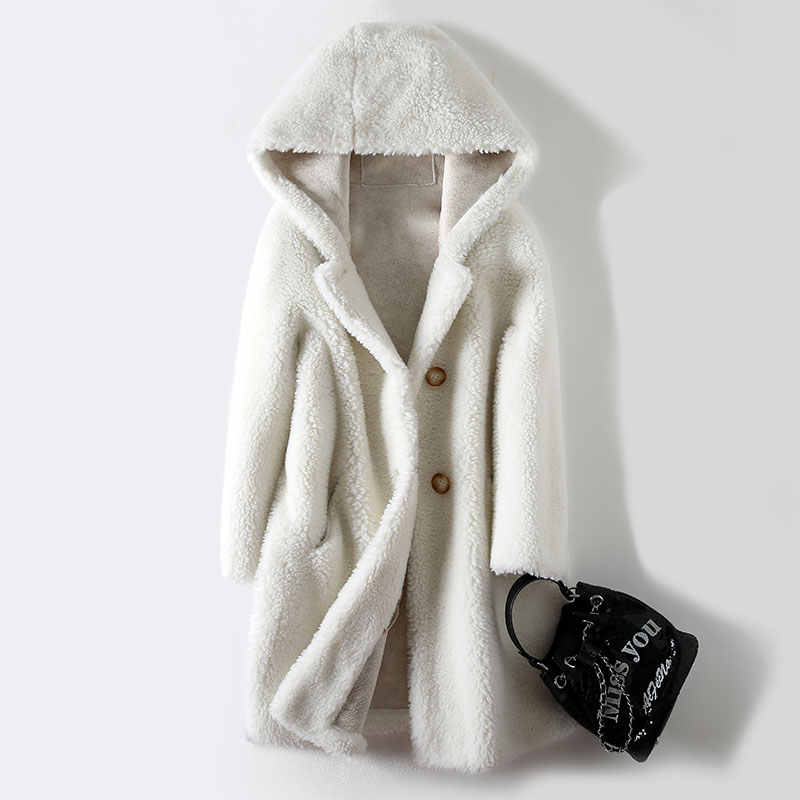 Mantel Musim Dingin Wanita Domba Geser Mantel 2020 Korea Fashion Berkerudung Kain Wol Bulu Panjang Kasual Wanita Jaket Bulu Pakaian