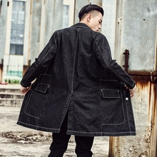 Men Long Denim Coat Vintage Black Jackets Windbreaker Korean Version Of Thin Denim Clothing Men's La