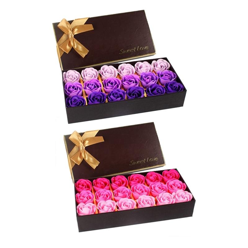 18Pcs Creative Gradient Simulation Rose Soap Flower Purple & Rose Red(2 Set)