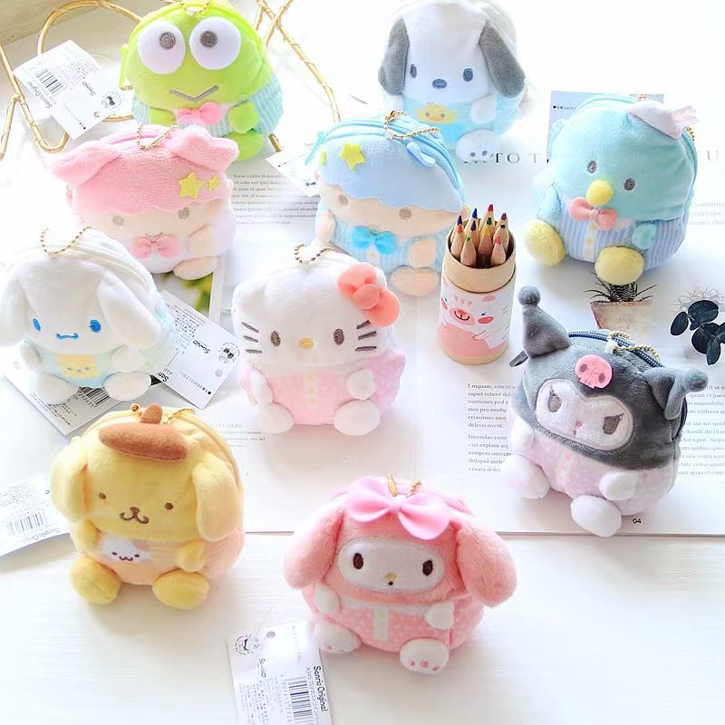 Cartoon Sanrio Hello Kitty My Melody Cinnamoroll Pom Pom Purin Plush Coin Purse Bags Cute Wallet Key Chain Bag For Girls Gifts