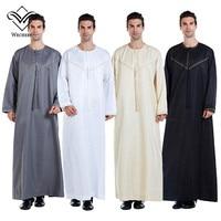 Wechery Muslim Arabic Dress Men Abaya Kaftan Mens Clothing Islamic Long Sleeve Prayer Dress for Man