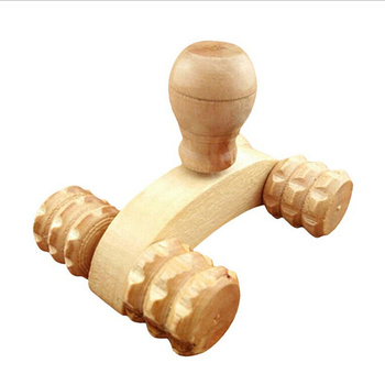 4 Wheels Car Roller Solid Wooden Full-body Relaxing Hand Massage Tools Reflexology Face Hand Foot Back Body Therapy image