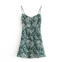 2021 France Vestidos Vintage Floral Print Women Fashion A-Line Dresses Basic Spaghetti Sleeveless V-Neck Straps Slim Mini NZ0205