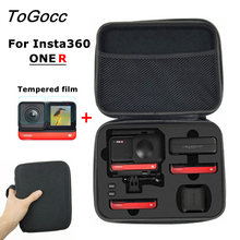 Bolsa de almacenamiento Estuche de transporte para Insta360 ONE R cargador de batería para cámara, accesorios para trípode, película protectora de pantalla