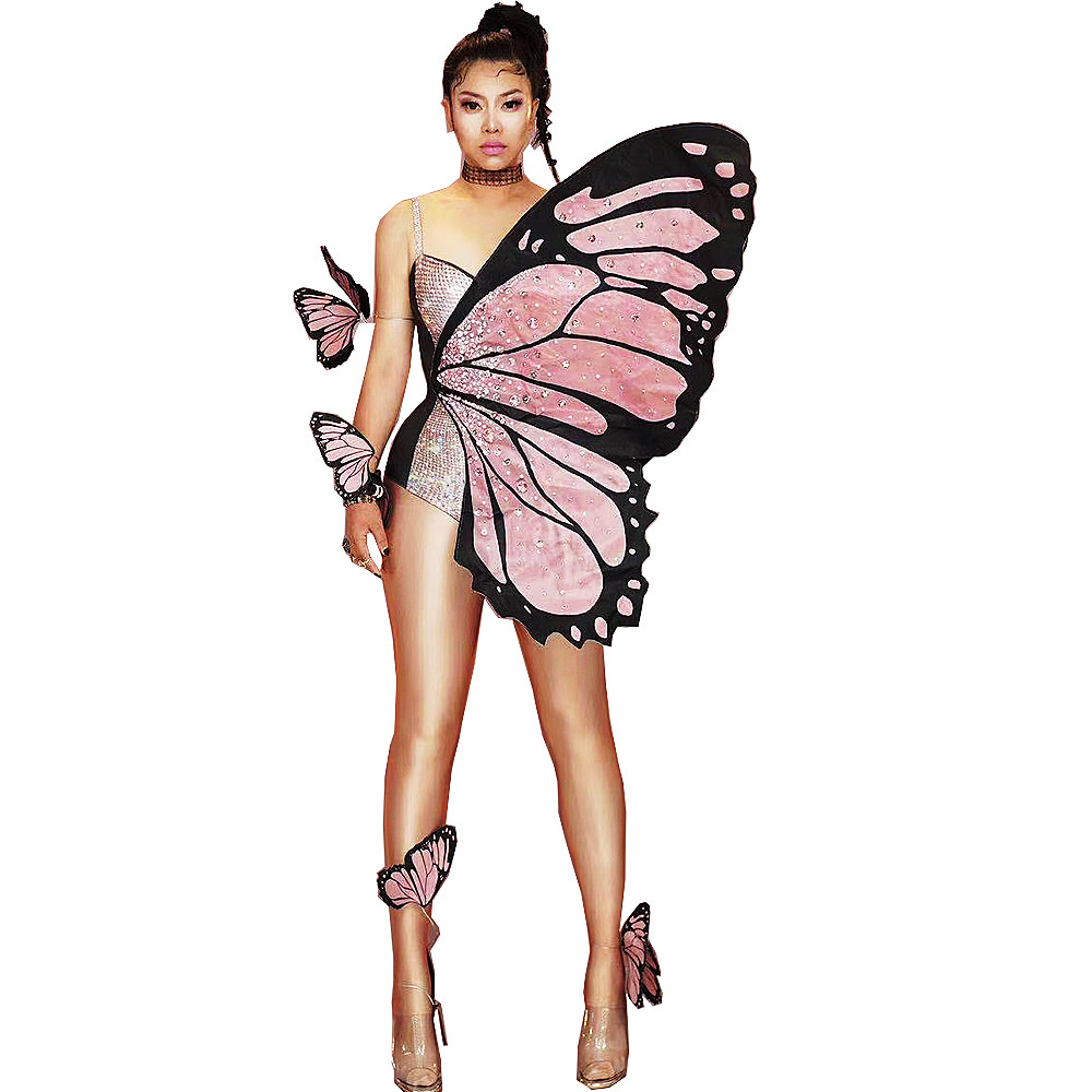 Shining Rhinestones Tight Stretch Women Bodysuits Sparkling Pink Butterfly Wings Halloween Ladies Costume Evening Prom Outfit