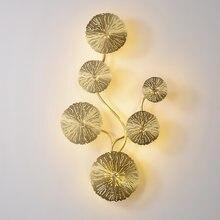 Современный настенный светильник с Медь золотой лотос лист креативный