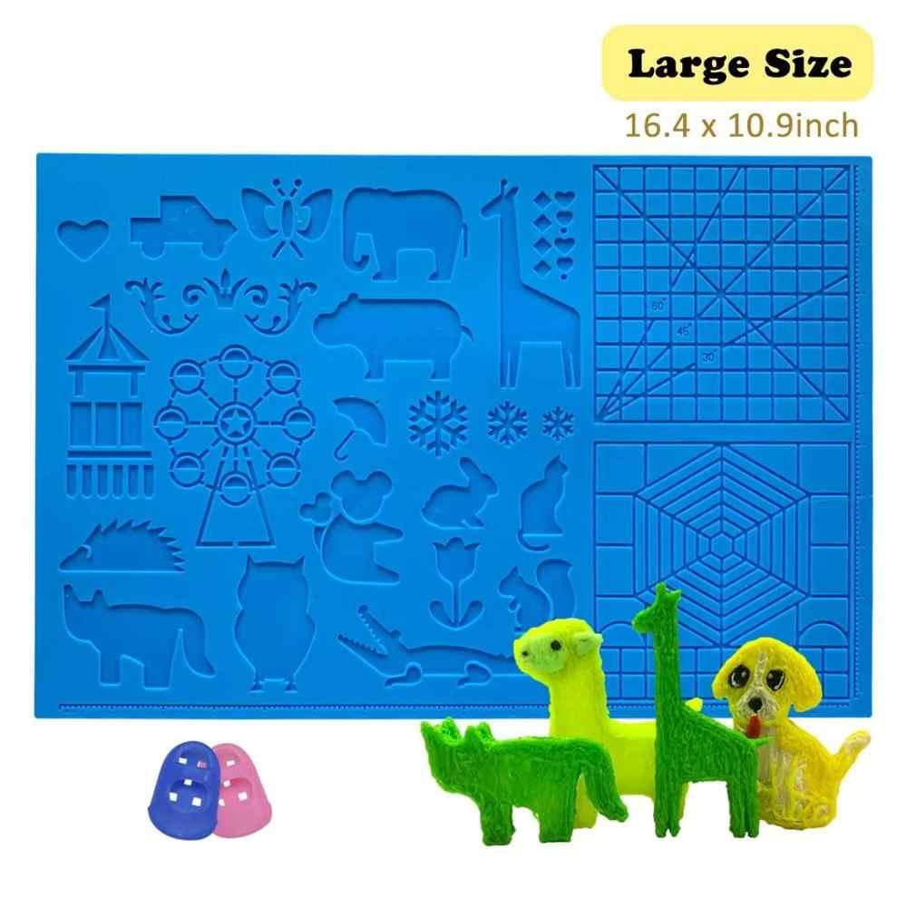 Dikale-alfombrilla para bolígrafo 3D, tapete de diseño grande de silicona, herramientas de plumas de dibujo 3D para niños y artistas, triangulación de envíos