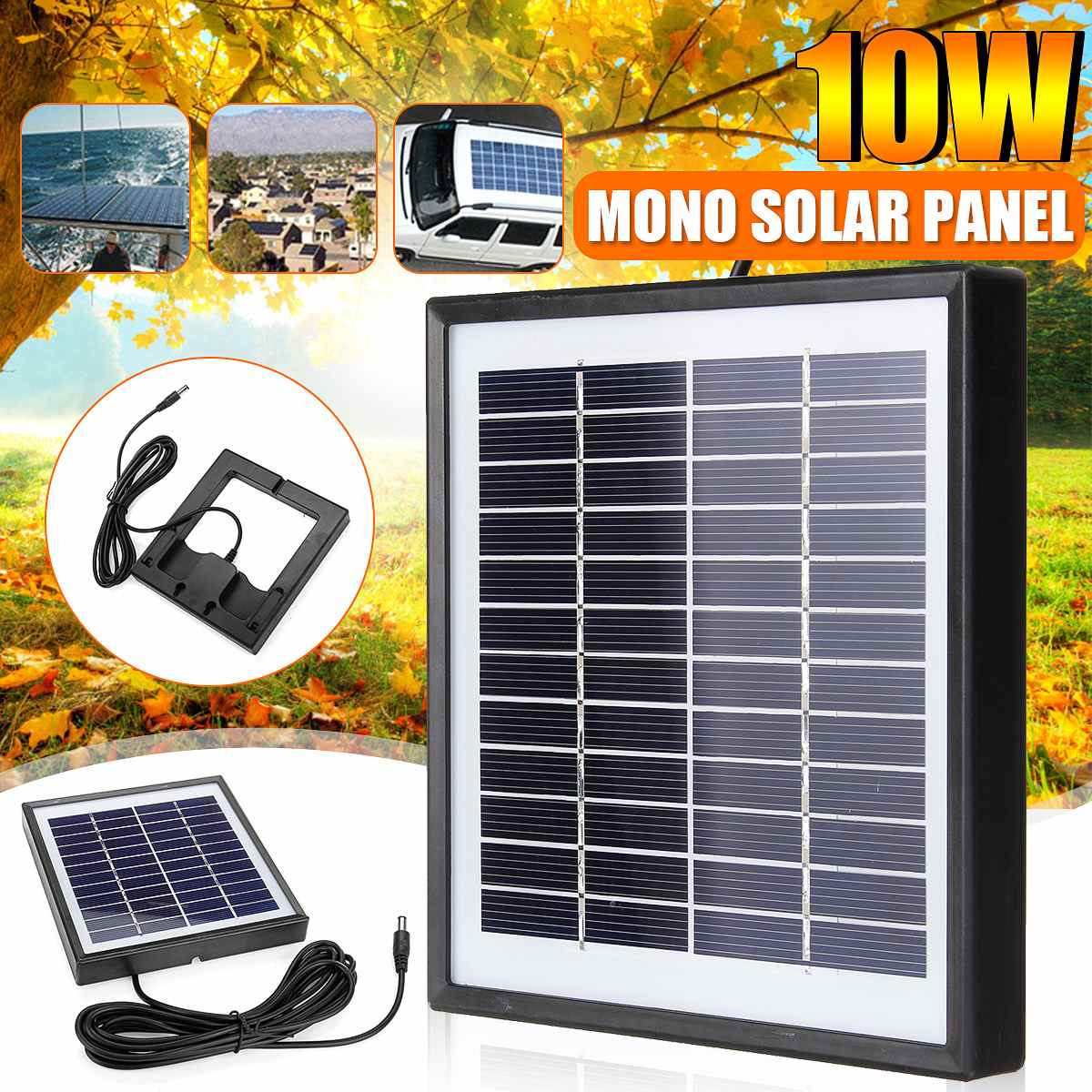 12V 10W Polysilicon Solar Panel Battery Charger For Street Light Outdoor Light Surveillance Camera Car RV Boat
