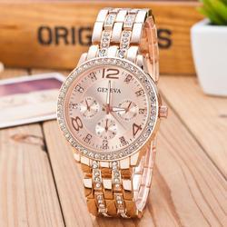 Brand Crystal Geneva Watch Casual Quartz rose gold Watch Women Stainless Steel Dress Watches Relogio Feminino Clock reloj mujer