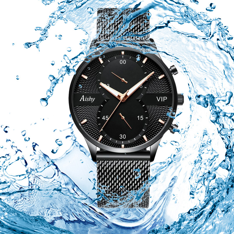 Top Brand Aishy Quartz Watch For Boy Stainless Steel Band 30m Water Resistant Business Men Watch 3bar Dropshipping High Quality