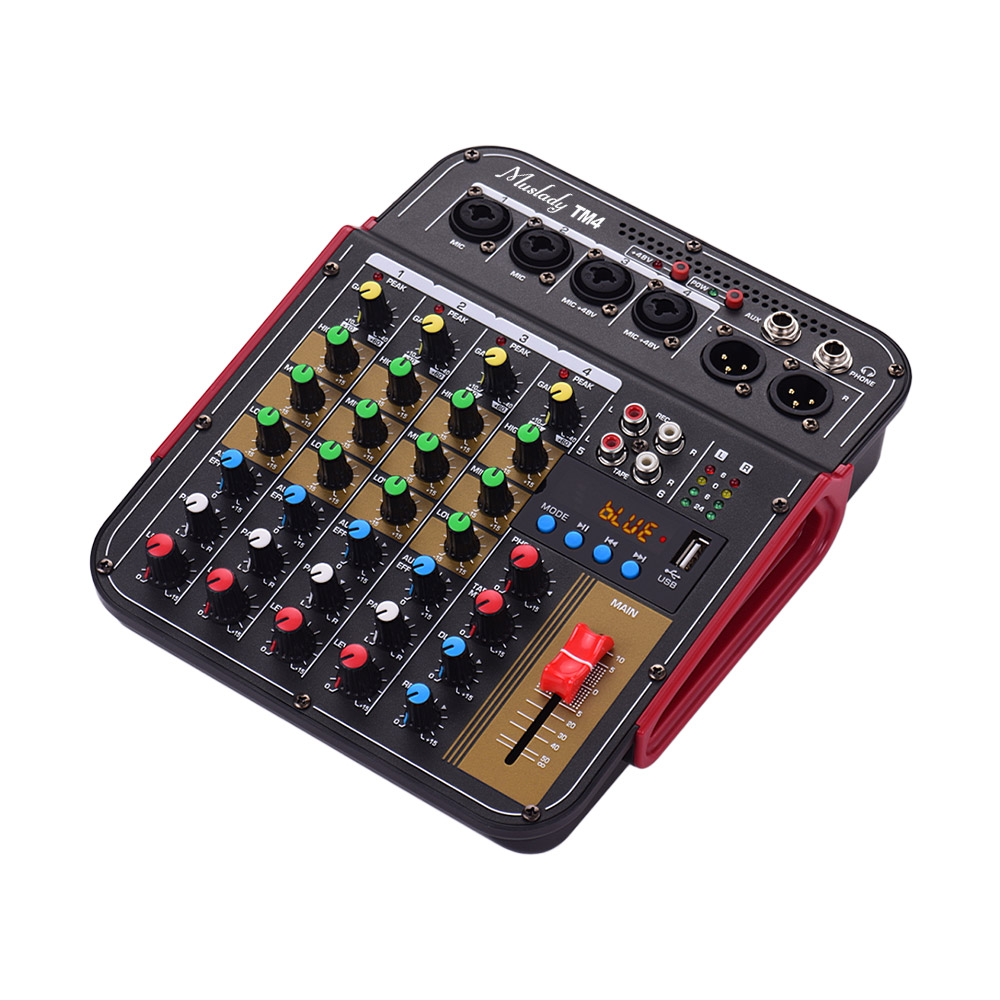 TM4 Digitale 4-Kanal Audio Mixer Konsole Mixing Konsole Eingebaute 48V Phantom Power mit BT Funktion Professionelle Audio system