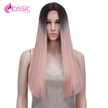 Straight Lace Front Wig Pink 613 Black Cosplay Party Synthetic Wigs for Women Middle Part Heat Resistant Fiber Classic Plus(China)