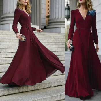 Women Sexy Formal Maxi Dress V Neck Long Sleeve Solid color Bandage Office Ladies Evening Party Prom Gown free shipping 2020 sexy v neck sleeveless maxi dress sexy v neck solid color floor length party dress women satin dress ft5035