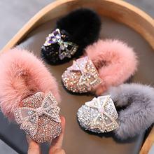 Брендовая осенне зимняя обувь для девочек теплые хлопковые Плюшевые