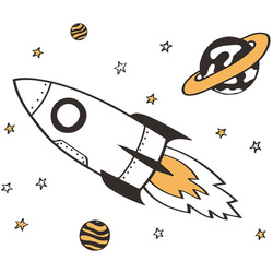 Cartoon rocket into space wall stickers for kids rooms baby room wall decor removable vinyl wall decals room decor home decor