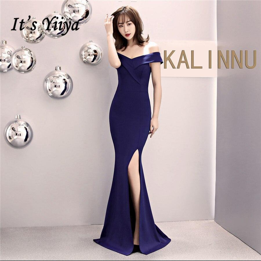 Evening Dresses It's Yiiya DX334 Floor-Length Off The Shoulder Mermaid Evening Dress 2020 Half Sleeve Zipper Formal Gowns
