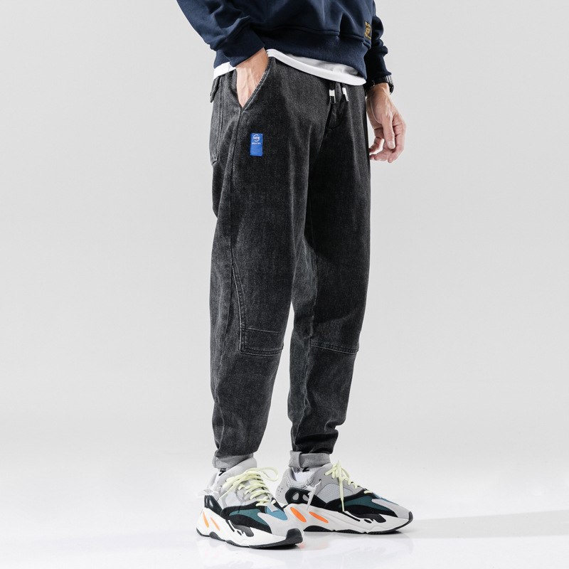 Autumn Fashion Men Jeans High Quality Loose Fit Elastic Harem Jeans Men Cargo Pants Small Leg Spliced Designer Hip Hop Jeans