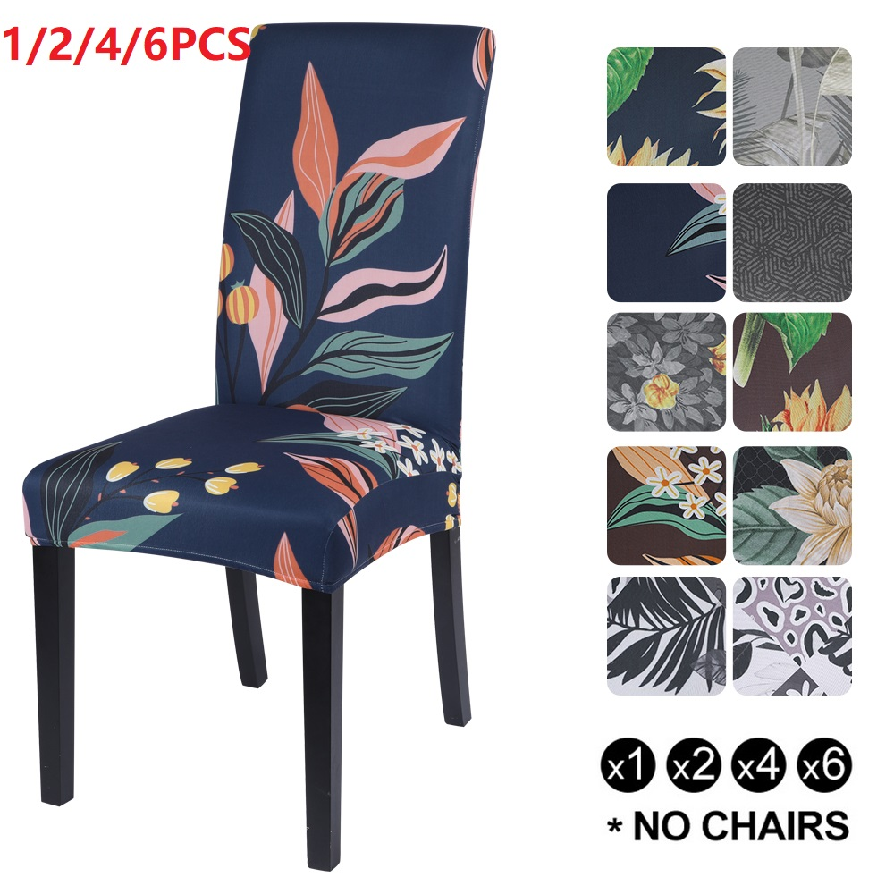 1/2/4/6 adet baskılı sandalye kılıfı Spandex streç elastik Slipcovers sandalye koruyucuları için yemek odası düğün ziyafet parti otel