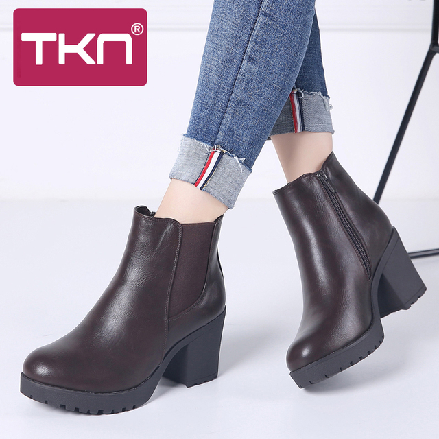 TKN Genuine boots women ankle boots winter snow boots genuine leather boots for women fashion zip chelsea boots new arrival 1902