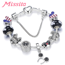 MISSITA Cute Mickey Series Silver Plated Charm Bracelet with Pendant Brand for Women Anniversary Gift