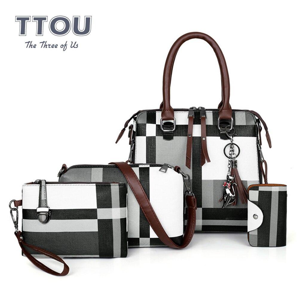 4 Pcs/set Plaid Print Women Top Handbags Luxury Design Tassel Deco Purses Clutch Bags Large Capacity Multi-use Clutch Bags