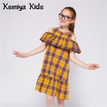 Kseniya Kids Girls Off Shoulder Ruffle Plaid Cotton Dress For Beach Party School Daily dresses