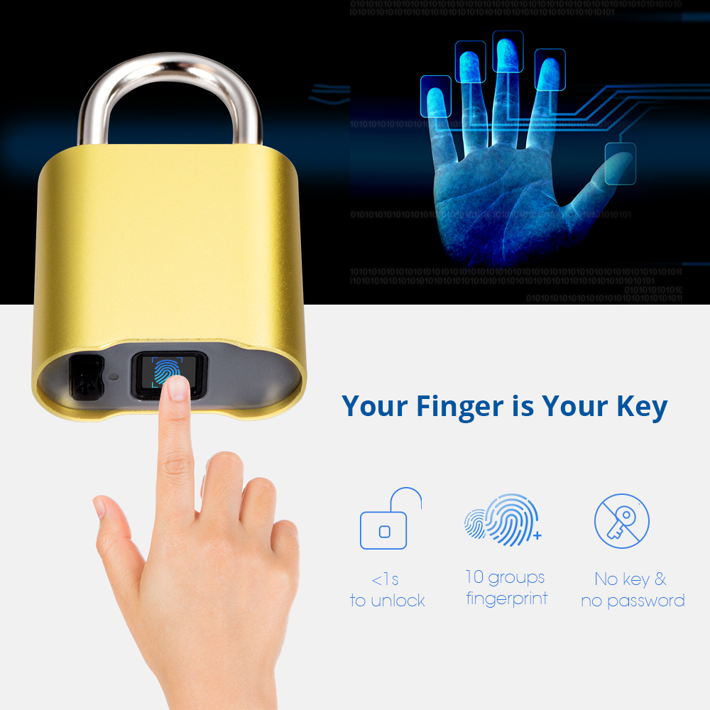 Waterproof Bluetooth Fingerprint Door Lock Luggage Bag Keyless Door Lock USB Rechargeable AntiTheft Security Fingerprint Padlock