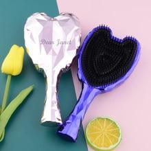 1pc anjo detangler escova de cabelo lidar com magia anti-estática emaranhado pente de massagem liso em linha reta cabeleireiro cores brilhantes