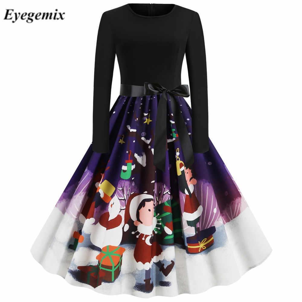 Weihnachten Kleidung Frauen Kleider Elegante Harajuku Langarm Weihnachten Musical Notes Drucken Vintage Kleid Robe Pull Femme Hiver