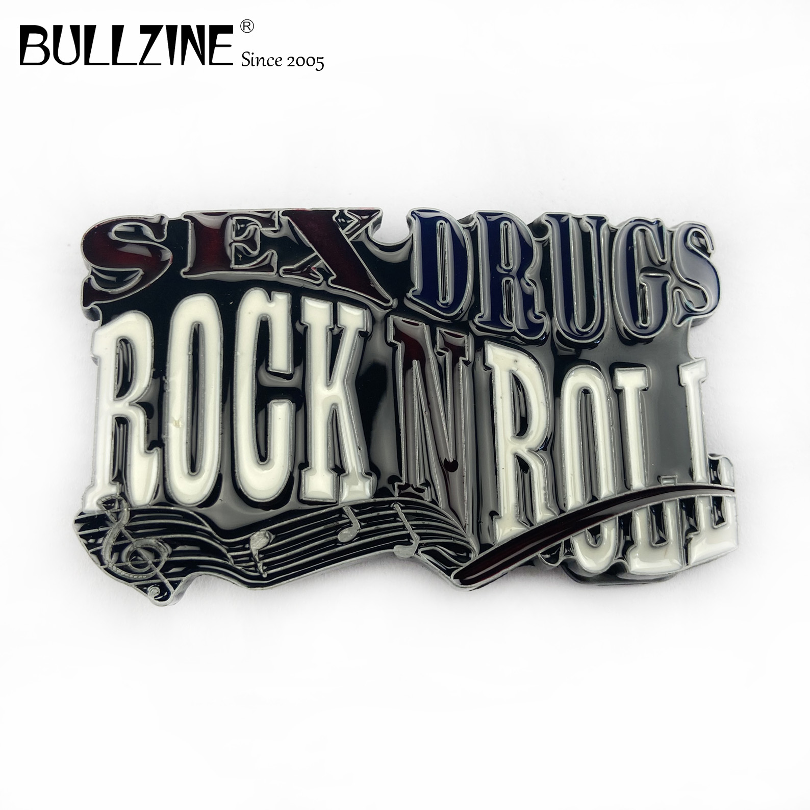 The Bullzine wholesale Rock roll belt buckle with pewter finish FP-03549 suitable for 4cm width belt