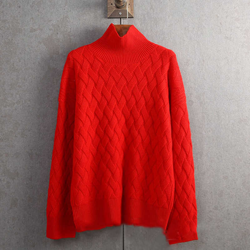 슈퍼 소프트 왁스! 가을 겨울 새로운 매트 니트 터틀넥 여성 스웨터 두꺼운 캐시미어 스웨터 풀오버 스웨터 느슨한 스웨터