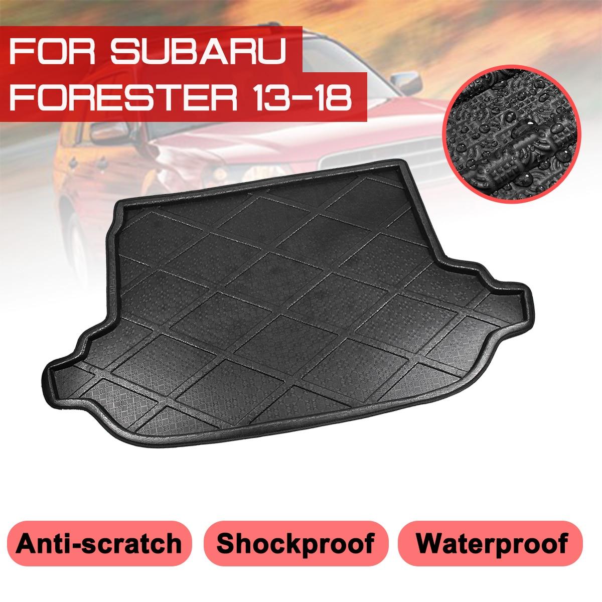 Araba arka bagaj önyükleme Mat Subaru Forester 2013 için 2014 2015 2016 2017 2018 su geçirmez paspaslar halı Anti çamur tepsi kargo astarı title=