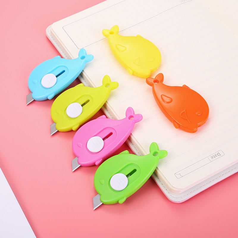 Small Creative Candy-Colored Knife Whale Modeling Students Cute Portable Mini Paper Cutter Convenient Box Opener