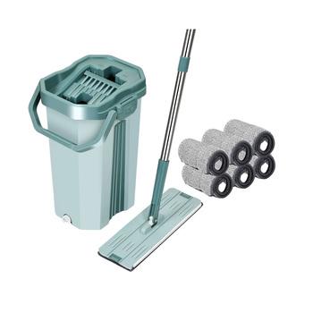 2021 nowe mieszkanie wycisnąć Mop z wiadro domu sprzątanie kuchni Mop strony za darmo do mycia magiczny Mop z Mop do podłogi z mikrofibry zestaw wiaderek tanie i dobre opinie olevo CN (pochodzenie) Tkanina z mikrofibry 10 sekund Typu Hook Loop Kosz z tworzywa sztucznego Z 1 mophead 80 -90