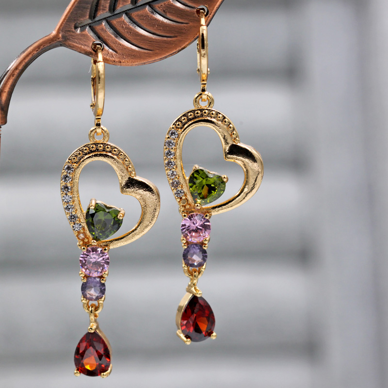 Hc4ec844467d9466e8c37a50cd3640ca7o - Trendy Vintage Drop Earrings For Women Gold Filled  Red Green Pink Lavender Zircon Earrings Gold  Earring Wedding  Jewelry