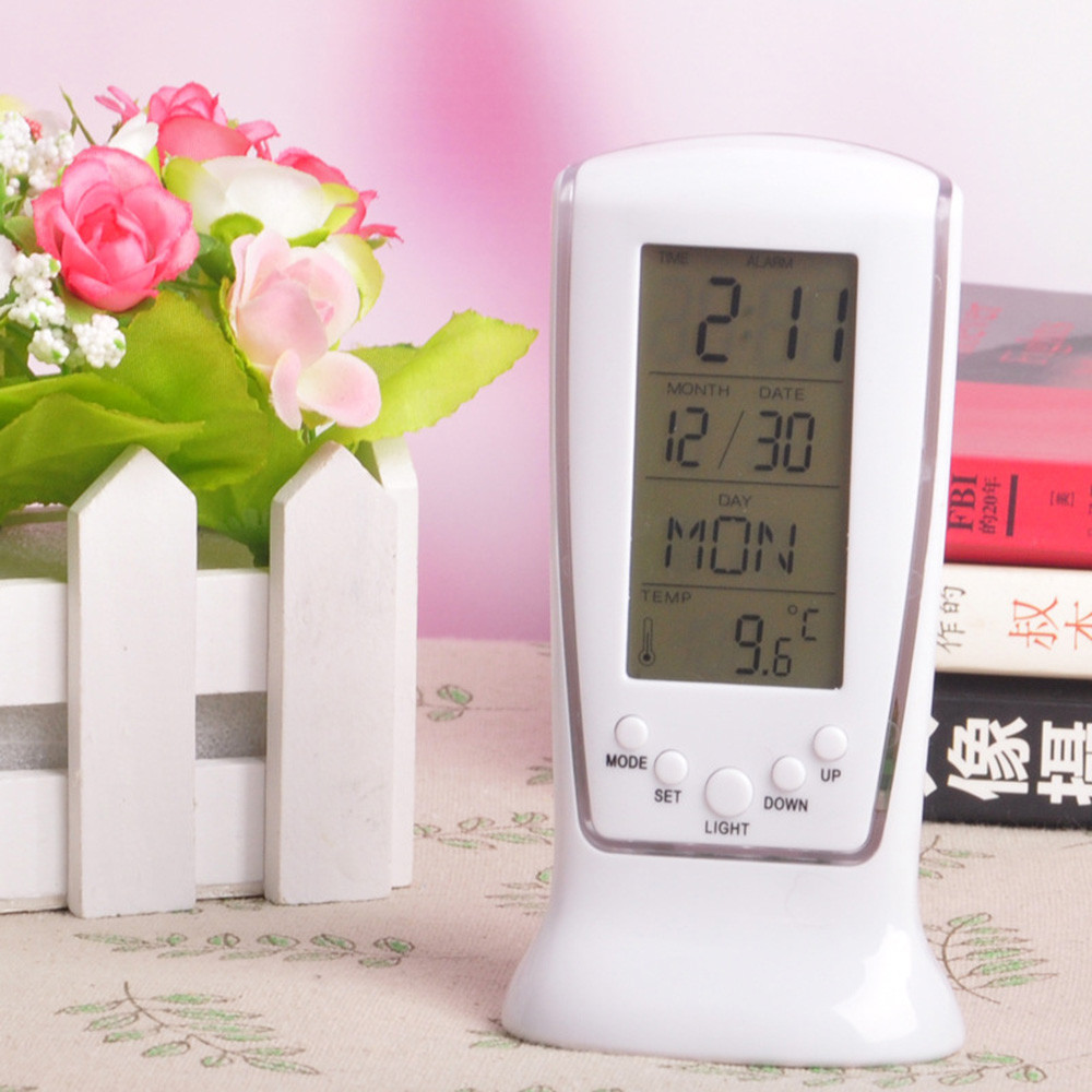 New Table Alarm Clock Digital Backlight LED Display Table Clocks Snooze Thermometer Calendar Blue background light daily use(China)