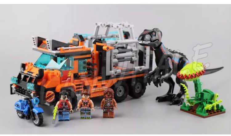551pcs יורה עולם דינוזאור T-rex Tracker ציד משאית אופנוע 8052 דגם אבני בניין צעצועי לבנים תואם עם לגו