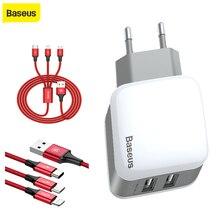 Baseus USB зарядное устройство Lighting + Micro Type C кабель для зарядки 2.4A, универсальное двойное зарядное устройство для телефона
