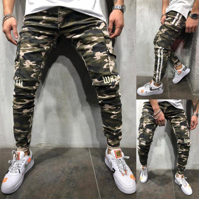 Mens Skinny Stretch Pencil Denim Pants Camouflage Pleated Slim Fit Jean Trousers Side Stripe Cargo Jeansy Male Clothing Hot Sale